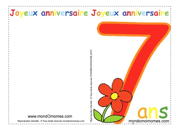 photo carte invitation anniversaire 7 ans gratuite a imprimer. Black Bedroom Furniture Sets. Home Design Ideas