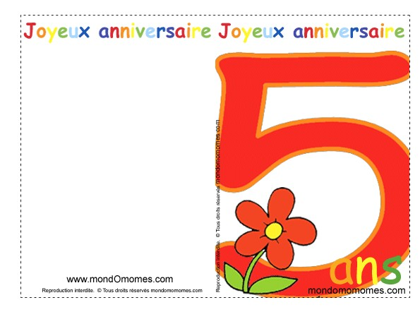 carte invitation anniversaire 5 ans gratuite a imprimer moderne. Black Bedroom Furniture Sets. Home Design Ideas